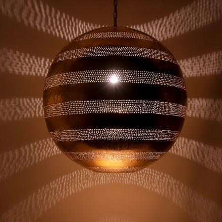 Arabische hanglamp filigrain | Oosterse lampen | Marokkaanse lamp | Metaal | Vintage goud | Gaatjes patroon | Amsterdam