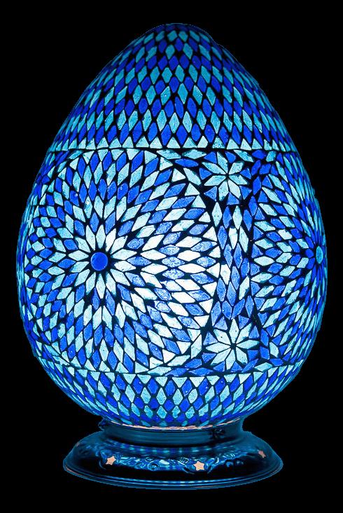 blauwe|Oosterse|Tafellamp|Mozaïek