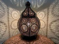Marokkaanse tafellamp | Oosterse verlichting | Zwart | Goud | Gaatjes lamp | Metaal | filigrain | Arabische lampen | Beste prijzen
