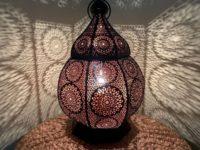 Marokkaanse tafellamp | Filigrain | Zwart | Koper | Metaal | Gaatjeslamp | Oosterse lampen | Sfeerverlichting | Arabische lamp | Tafellampen online | Marokkaanse lamp