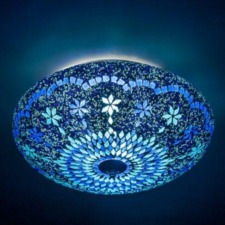 Oosterse plafonnière, mozaïek en filigrain, blauw