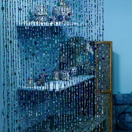 Oosters kralengordijn | Blauw | Deurgordijn | Vliegengordijn | glaskralengordijn | Oosters interieur | Oosterse lampen