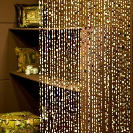 Oosters kralengordijn | Glaskralengordijn | Vliegengordijn | Bruin beige | Scheidingswand | Maatwerk | Oosterse lampen | Oosters interieur | Nu verkrijgbaar bij Oosterse lampen