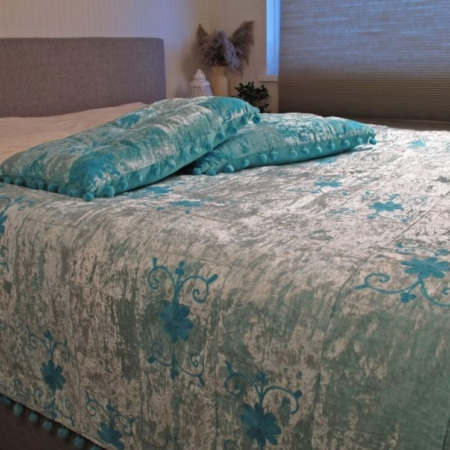 Oosterse bedsprei | Blauw | Sundar | Oosters kleed | Bedkleed | Handgemaakt | Scherpe prijs | Gratis verzenden
