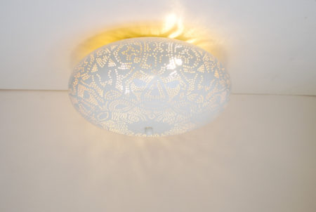 Oosterse plafonnière | Filigrain | Wit | Goud | Marokkaanse lamp | Oosterse verlichting