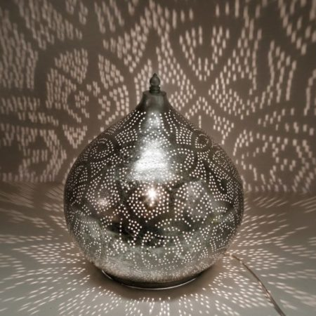 Oosterse filigrain tafellamp | Zilver | Marokkaanse lamp | Arabische lampen | Oosters interieur