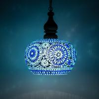 Oosterse hanglamp blauw mozaiek | Oosterse lampen | Oosterse hanglamp met open onderkant | Oosterse lamp online bestellen