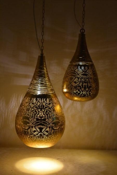 Oosterse hanglamp | Druppelvormig | filigrain | Vintage goud | Oosterse lampen