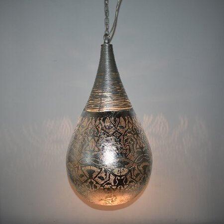 Oosterse hanglamp | filigrain | Druppel | Arabische lamp | Marokkaanse lampen | Oosterse lampen | Zilver