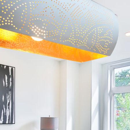 Oosterse hanglamp | Oosterse lampen | Binnenkant goud | Buitenkant wit | Moderne Oosterse lamp