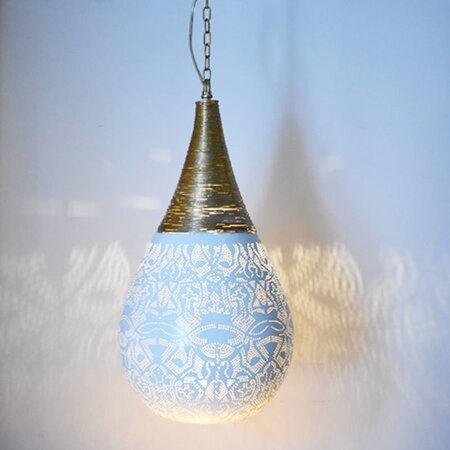Oosterse hanglamp | Filigrain | Druppel | Draad | Oosterse lampen | Wit | Goud | Oosterse verlichting | Nieuw model | Oosters interieur