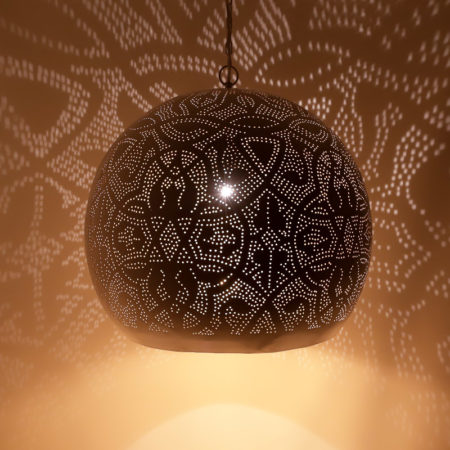 Oosterse hanglamp | Filigrain | wit goud | Arabische lamp | Gaatjes lamp | Metaal | Oosterse lampen
