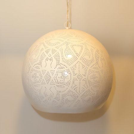 Oosterse lamp | Marokkaanse hanglamp | Gaatjes lamp | Metaal | Wit goud | Oosterse lampen
