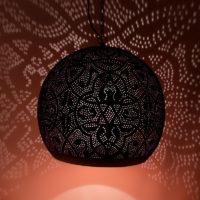 Oosterse hanglamp | filigrain | Arabische lamp | Marokkaanse lampen | zwart/koper | Eettafellamp | Gaatjes lamp | Metaal | Oosterse lampen | Oosters interieur