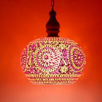Oosterse hanglamp | Rood/Oranje Mozaiek | Met open onderkant | Oosterse lamp | Ronde hanglamp | Online bestellen beste prijzen | Mozaïek hanglamp