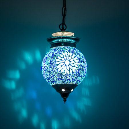 Oosterse hanglamp | Blauw mozaïek | Gratis verzenden | Amsterdam