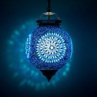 Oosterse hanglamp | Marokkaanse lamp | Mozaïek | Blauw | Oosterse verlichting