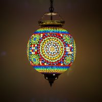 mozaiek hanglamp traditioneel | Oosterse hanglamp | Multi colour | Tuin verlichting | Oosters interieur
