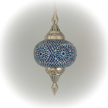 Oosterse hanglamp | Blauw mozaïek | Marokkaanse lamp | Lantaarn