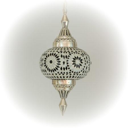 Oosterse hanglamp | Mozaiek | Marokkaanse lamp | Pompoen | Zwart/wit