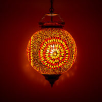 Oosterse hanglamp | Marokkaanse lamp | Rood Oranje | Mozaïek | Verlichting