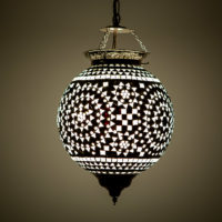 mozaiek hanglamp | Oosterse lamp | Zwart/wit | Marokkaanse lampen | Oosters interieur