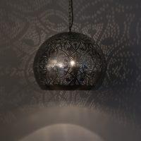 Oosterse lamp | Filigrain hanglamp | Eettafellamp | Metaal | Gaatjes | Vintage Zilver | Amsterdam