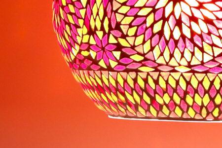 Oosterse hanglamp | Rood oranje glasmozaiek | Oosterse lampen | Oosters interieur | Oosterse lamp online