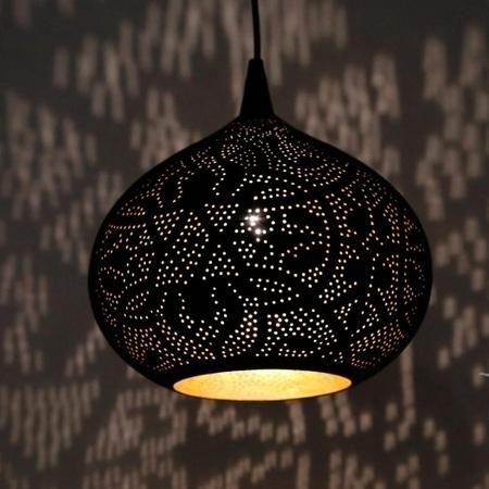 Oosterse hanglamp | Filigrain | Oosterse lampen | Metaal | Vintage zwart met goud | Oosterse verlichting