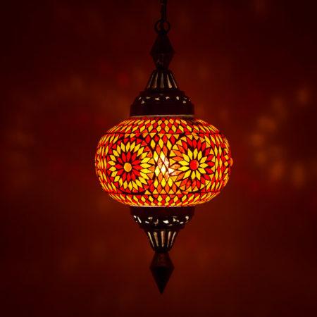 Mozaiek hanglamp pompoen rood oranje | Oosterse lamp