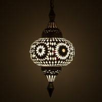 Oosterse mozaiek hanglamp | Zwart wit | Marokkaanse lampen | Pompoen