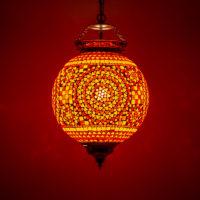 Oosterse lamp | Hanglamp | Mozaiek | Rood oranje