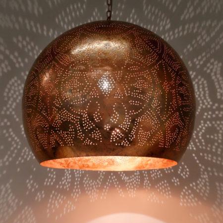 Oosterse lamp | Vintage koper | Filigrain lamp | Oosterse lampen | Marokkaanse hanglamp | Metaal | Gaatjes lamp