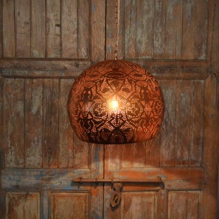Oosterse lamp | Vintage koper | Eettafellamp | Marokkaanse lampen | Gaatjes lamp | Metalen lamp | Oosterse lampen