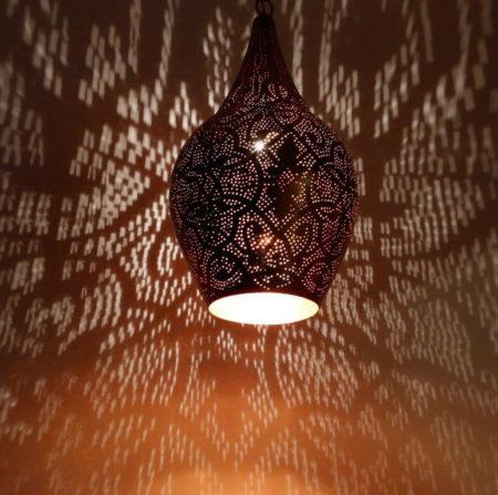 Oosterse lamp | Filigrain gaatjes patroon | Moderne Oosterse lampen | Marokkaanse hanglamp | Arabische verlichting