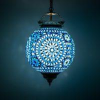 Oosterse lamp | Marokkaanse hanglampen | Mozaïek | Blauw | Sfeerverlichting | Oosters interieur