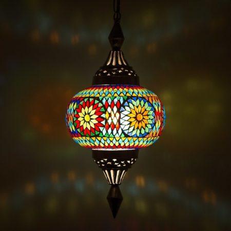 Mozaiek hanglamp pompoen | Oosterse lamp | Lantaarn | Multi colour | Arabische lampen