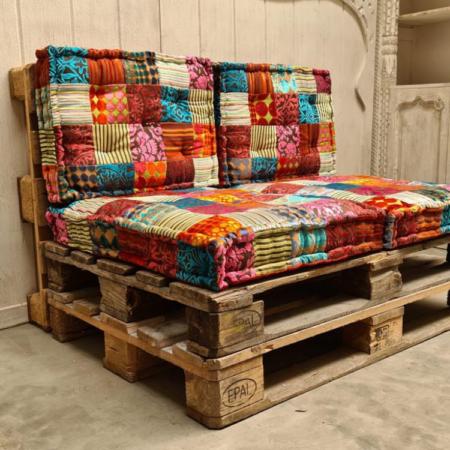 Oosterse set met palletkussens voor op de palletbank | Complete set patchworkkussens | Zitkussens rug kussens | Stevige Oosterse kussens