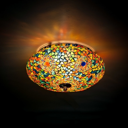 Oosterse plafondlamp | Kleurrijk mozaïek en triangles | Marokkaanse lamp | Arabische lampen