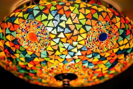 Oosterse plafondlamp | Marokkaanse lampen | Glasmozaïek | Plafonnières | Arabische lampen