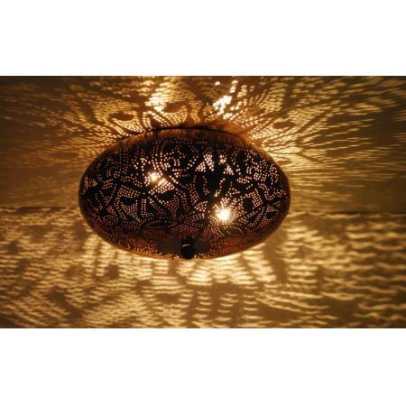 Oosterse plafonnière | Marokkaanse plafondlamp | Filigrain lamp | Gaatjes lamp | Metaal | Zwart | Bruin | Arabische verlichting