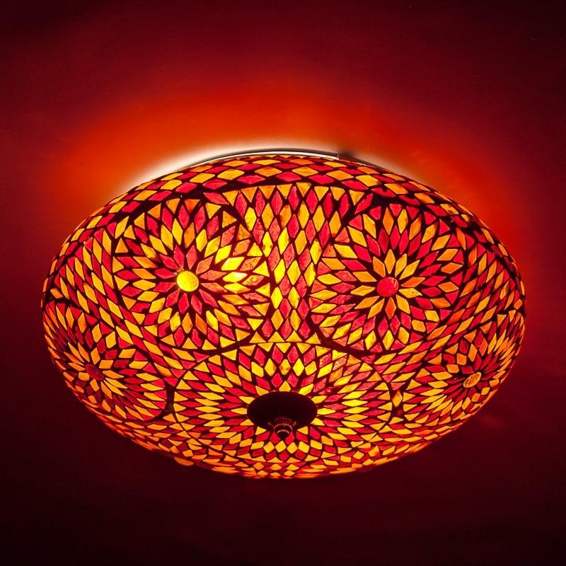 Oosterse mozaiek plafonniere   Oosterse plafondlamp   Rood oranje   Oosterse lampen