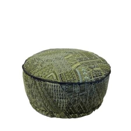 Oosterse poef afgani green | Combineer tot een sfeervol geheel met Oosterse lampen | Geborduurde poef van zwaar katoen | Stevige Oosterse poefen | Scherpe prijzen | Gratis verzenden