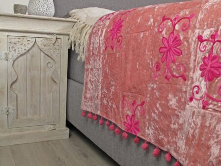 Oosterse bedsprei   Roze   Handgemaakt   Velvet   220x140   Oosterse lampen