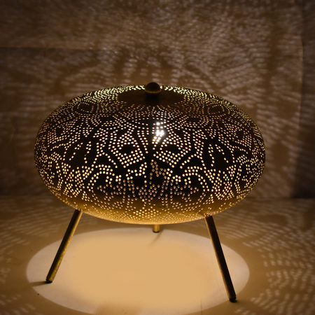Oosterse tafellamp | Filigrain | Arabische lamp | Marokkaanse lampen | Zwart met vintage goud | Oosterse lamp