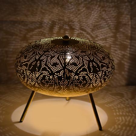 Oosterse tafellamp   Filigrain   Arabische lamp   Marokkaanse lampen   Zwart met vintage goud   Oosterse lamp