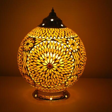 Oosterse tafellamp met bruin beige glasmozaiek Arabische tafellampen ruime collectie Oosterse lampen online Marokkaanse lamp
