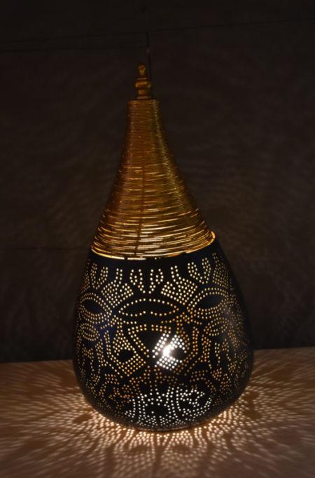Oosterse tafellamp filigrain   Zwart   Goud   Marokkaanse lampen   Beste prijzen   Gratis bezorgd