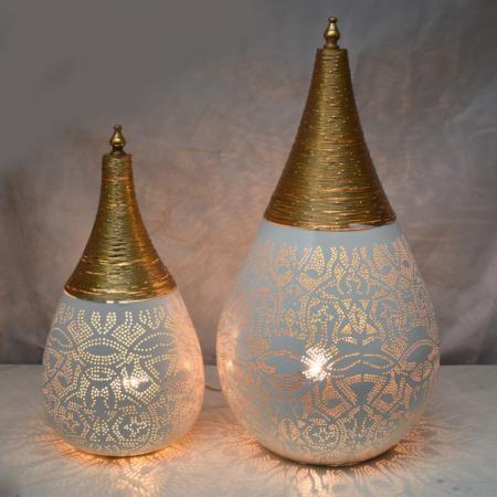 Oosterse tafellamp | Filigrain | wit goud | Oosterse lampen | Tafellampen | Sfeerverlichting | Scherpe prijzen | Snelle levering