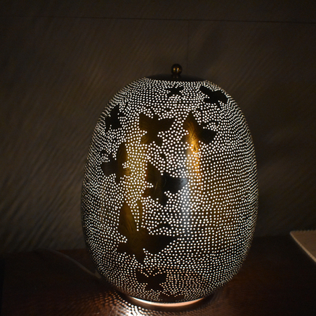 Oosterse tafellamp | Zilver | Filigrain | Butterfly | Oosterse tafellamp